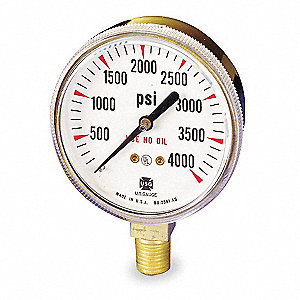 Pressure Gauge,0 to 4000 psi,2In,1/4In