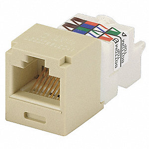 Modular Jack, Electric Ivory, Plastic, Series: Mini Com, Cable Type: Category 6