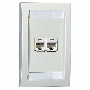 Electric Ivory Wall Plate, Plastic, Number of Gangs: 1, Cable Type: Single Gang