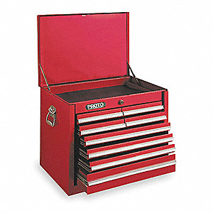 "Red Top Chest, 27"" Width x 18""  Depth x 19"" Height, Number of Drawers: 8"
