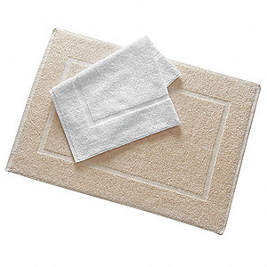 "30"" x 20"" 50/50 Polyester/Cotton Base, 100% Cotton Loops Bath Mat, Ecru&#x3b; PK12"