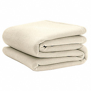 Fleece Blanket,King,108x90 In.,Ivory,PK4