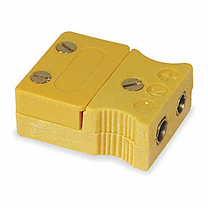 Thermocouple Jack, Yellow, Thermocouple Type:  K, Plug or Connector Type: Standard