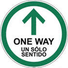 Bilingual Spanish - One Way Arrow Floor Sign
