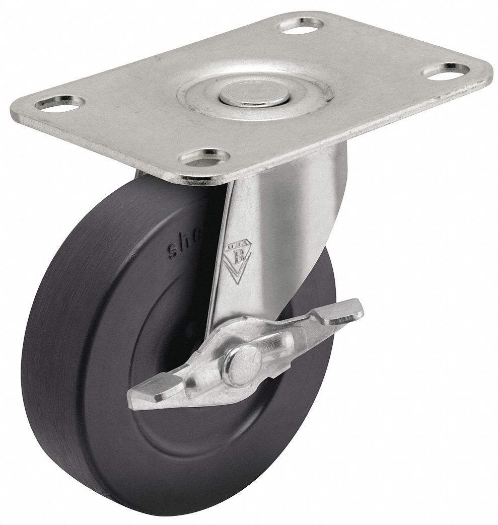 NSF-Listed Sanitary Plate Caster,  Swivel,  Rubber,  80 lb,  2 in Wheel Dia.