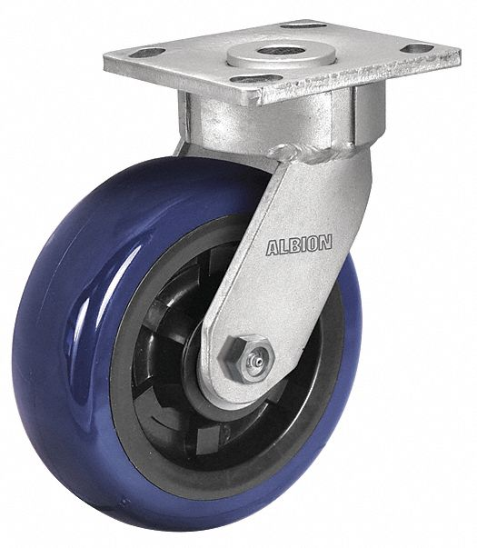 Maintenance-Free Plate Caster,  Swivel,  Polyurethane,  4 in Wheel Dia.