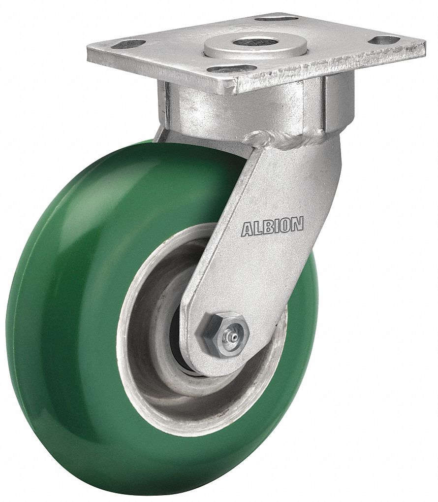Maintenance-Free Plate Caster,  Swivel,  Polyurethane,  1000 lb,  5 in Wheel Dia.