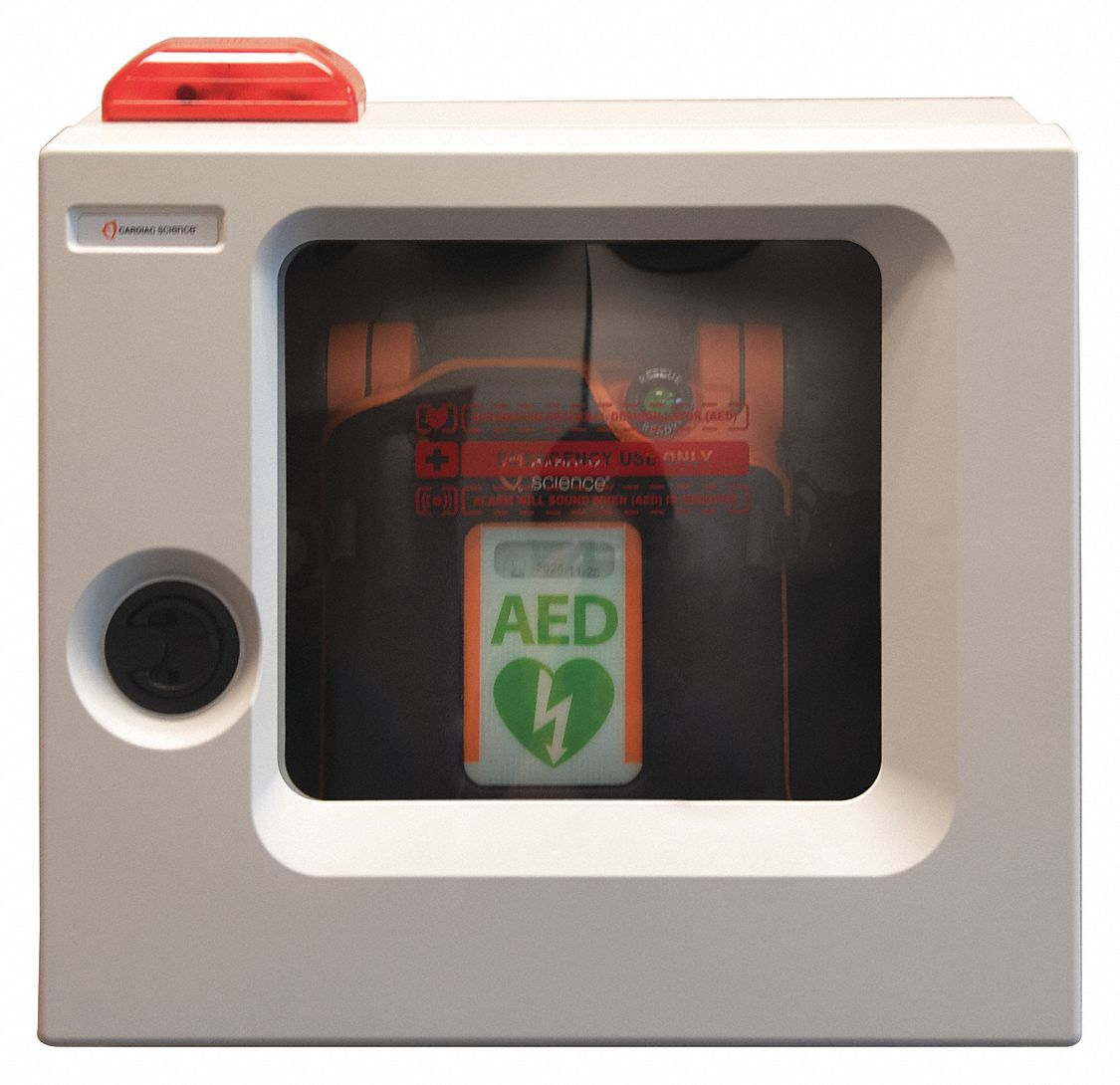 AED Storage Accessory,  White,  Stainless Steel w/ Plastic Front