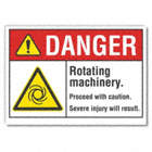 Danger: Rotating Machinery. Proceed With Caution Or Severe Injury Will Result. Signs