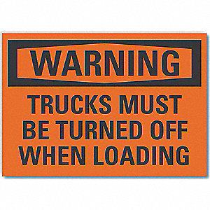 "Polyester,  Warning Sign,  10"" Width,  7"" Height,  Orange,  Adhesive Surface"