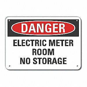 Electric Meter Room No Storage Electrical Warning Signs - Safety