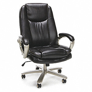 "Brown Leather Big and Tall Executive Chair 30-1/2"" Back Height, Arm Style: Fixed"