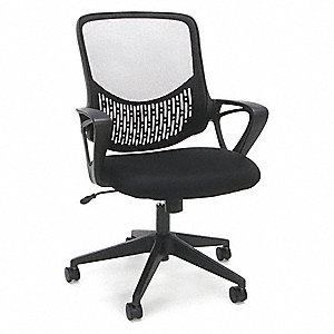 "Black Mesh Task Chair 18-1/2"" Back Height, Arm Style: Fixed"