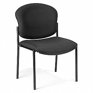 Black Steel Stacking Chair with Black Seat Color, 1EA