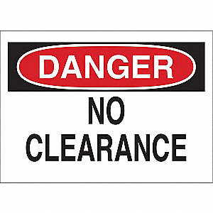"Overhead Clearance, Danger, Aluminum, 10"" x 14"", With Mounting Holes, Not Retroreflective"