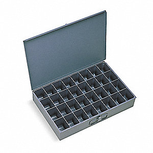 Steel Compartment Drawer, Compartments per Drawer: 32, Removable Dividers: No, Gray