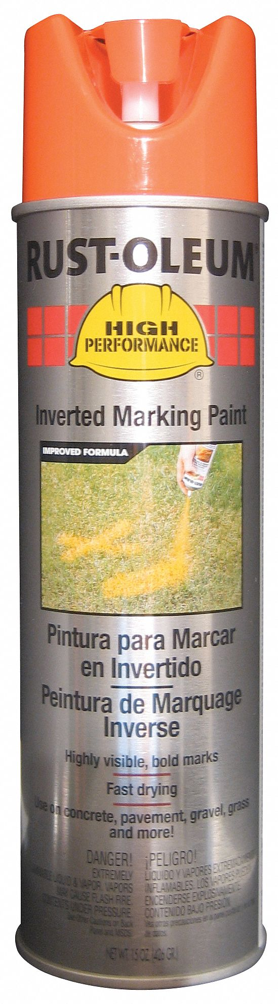 Solvent-Base Inverted Marking Paint, Fluorescent Orange, 15 oz