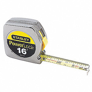 Tape Measure,3/4 In x 16 ft,Chrome,In/Ft