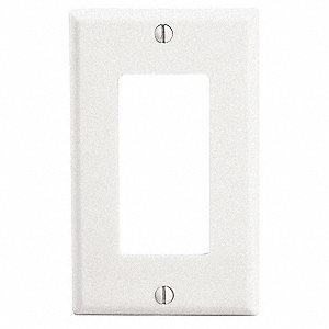 Rocker Wall Plate, White, Number of Gangs: 1, Weather Resistant: No