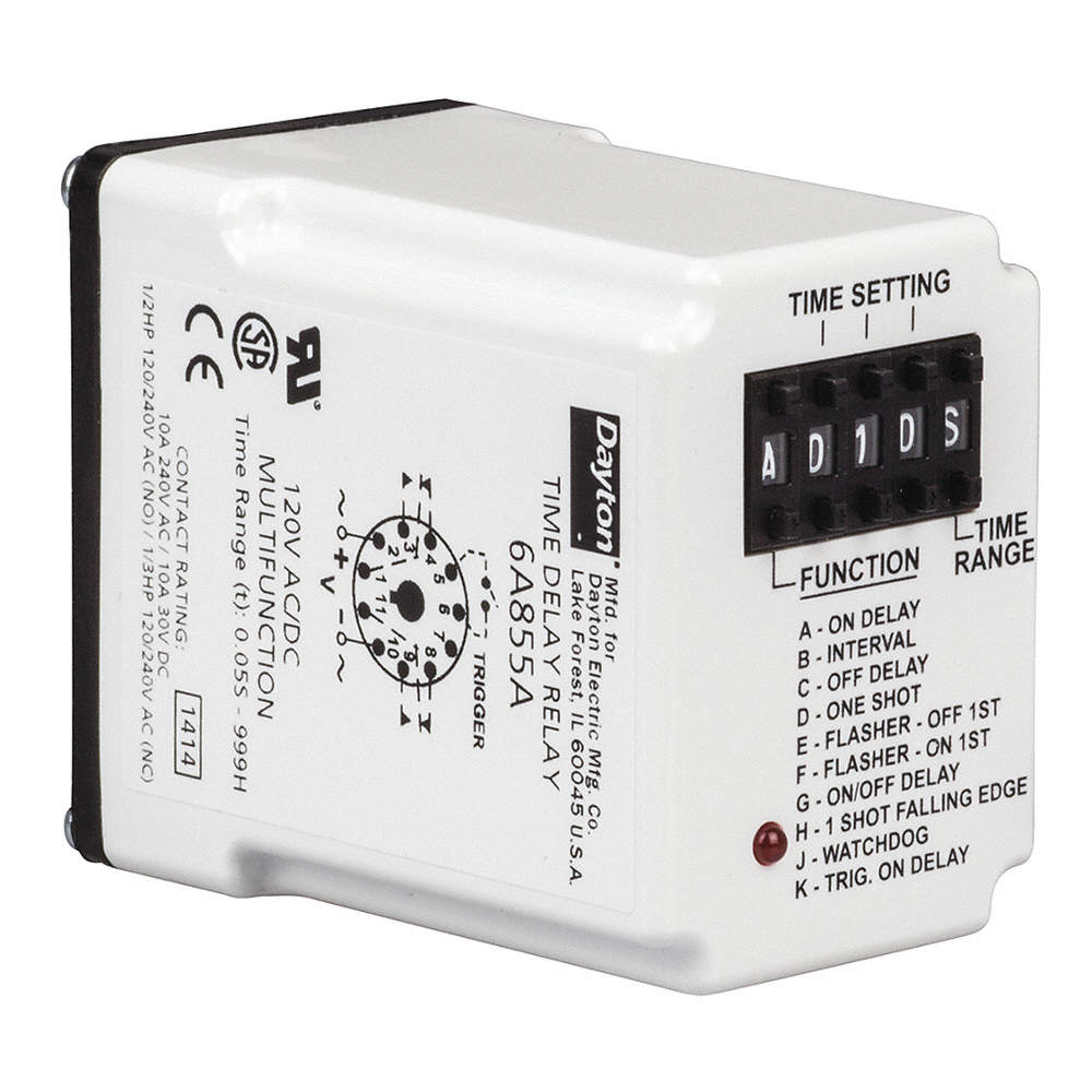 Multi-Function Timing Relay, 120VAC, 10A @ 240V, 11 Pins, DPDT on