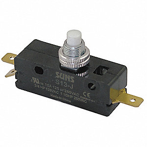 Snap Switch,15A,SPDT,Panel Mount Plunger