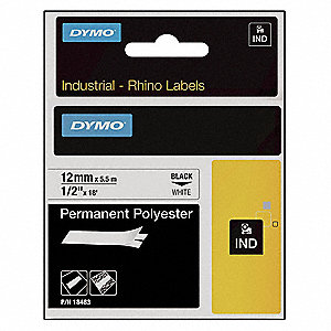 "Black/White Polyester Label Tape Cartridge, Indoor/Outdoor Label Type, 18 ft. Length, 1/2"" Width"