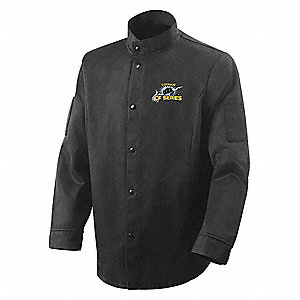 "Black Carbonized Fiber Welding Jacket, Size: XL, 30"" Length"