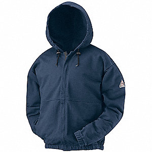 "Navy FR Hooded Sweatshirt, Size: XL, Fits Chest Size: 46"" to 48"", 18 cal/cm2 ATPV Rating"