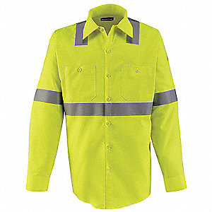 "Hi-Visibility Yellow/Green Flame-Resistant Collared Shirt, Size: LT, Fits Chest Size: 42"" to 44"", 8."