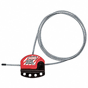 Adjustable Cable Lockout, Red/Silver, 6 ft., Plastic Coated Steel