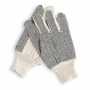 Canvas Gloves, Cotton/Polyester Material, Knit Wrist Cuff, White, Glove Size: S