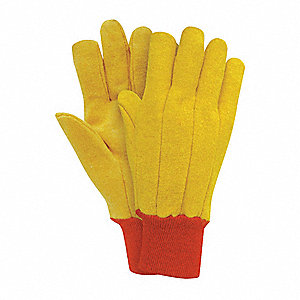 Fleece Chore Gloves, Knit Cuff, 14 oz. Fabric Weight, Yellow, L, PR 1