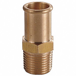 "Brass Beaded Hose Barb with Straight Fitting Style, 1/2"" Thread Size"