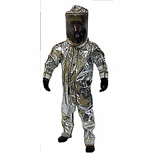 Two Piece Chemical/Radiant Heat Resistant Suit with With Cone Inserts Cuff, Silver, 2XL/3XL, Frontli