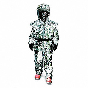 Three Piece Chemical/Radiant Heat Resistant Suit with With Cone Inserts Cuff, Silver, 2XL/3XL, Front