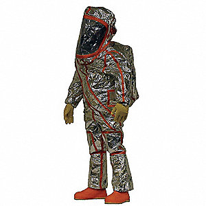 Level A Front-Entry Encapsulated Suit, Silver W/Hi-Vis. orange, Size 4X, Frontline 500