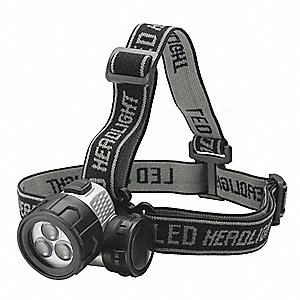LED Headlamp, Plastic, 100,000 hr. Lamp Life, Maximum Lumens Output: 142, Black