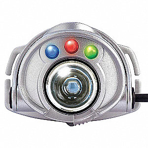 LED Headlamp, Plastic, 30,000 hr. Lamp Life, Maximum Lumens Output: 185, Gray