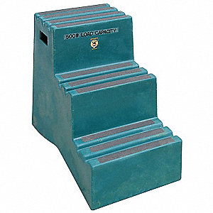 "PCR Polyethylene Step Stand, 28-1/2"" Overall Height, 500 lb. Load Capacity, Number of Steps 3"