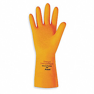 Latex Chemical Resistant Gloves, 29 mil Thickness, Flock Lining, Size 10, Orange, PR 1
