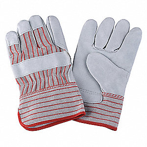 Cowhide Leather Work Gloves, Safety Cuff, Red Striped, Size: XL, Left and Right Hand