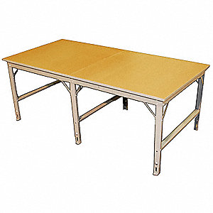 "Work Table, 96"" Width, Steel100 lb. Per Sq Ft Load Rating"