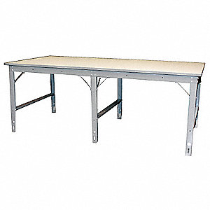 "Work Table, 96"" Width, 12 ga. Steel100 lb. Per Sq Ft Load Rating"