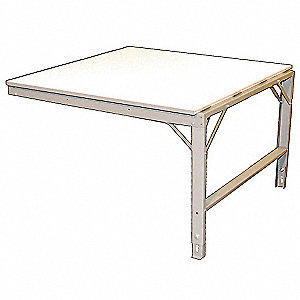"Adjustable Height Work Table, Laminate, 48"" Depth, 33-3/8"" to 36-3/4"" Height, 72"" Width,2400 lb. Loa"