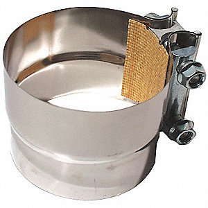 "Stainless Steel Muffler Clamp with Gasket For Pipe Size 4""&#x3b; PK1"