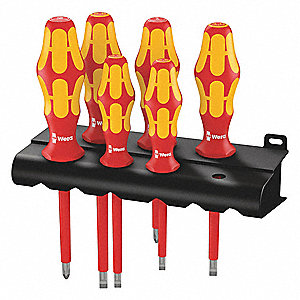 Keystone Slotted/Phillips Insulated Screwdriver Set, Multicomponent, Number of Pieces: 6