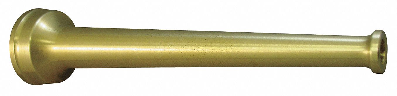 Industrial Fire Hose Nozzle,  1 in Inlet Size,  NPSH Thread Type,  Brass Bumper Color,  Brass