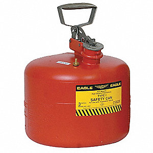 3 gal. Type I Safety Can, Used For Flammables, Red&#x3b; Includes Metal Fittings, Flame Arrestor