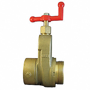 "2-1/2"" Brass Hose Gate Valve, FNST x MNST Connection, Non-Rising Stem Type"