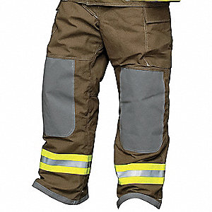 "Nomex®/Kevlar®,  Turnout Pants, Size: 2XL, Fits Waist Size 46 to 48"", 30"" Inseam"